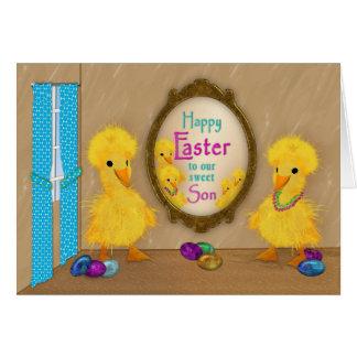 Tarjeta Pascua - patos divertidos - hijo
