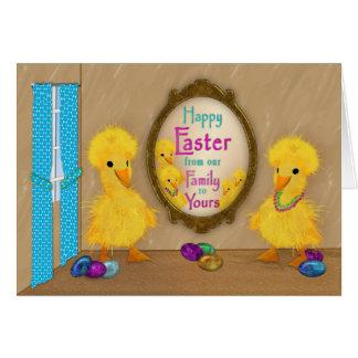 Tarjeta Pascua - patos divertidos - nuestra familia el