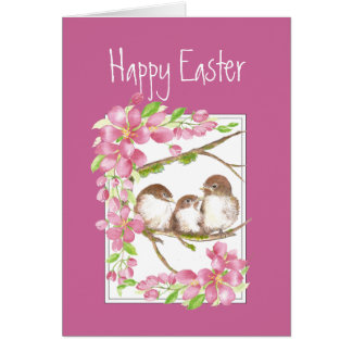 Tarjeta Pascua, primavera, flor de cerezo, gorriones,