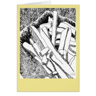Tarjeta patatas fritas con la frontera amarillo claro