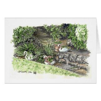 Tarjeta patio trasero con los plantes del ganso
