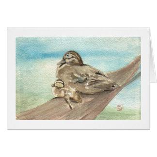Tarjeta Pato de madera Notecard de la madre y del bebé