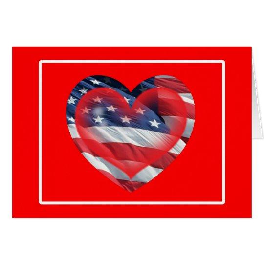 Tarjeta patriótica de dos corazones