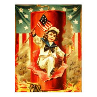 Tarjeta patriótica de los fuegos artificiales de