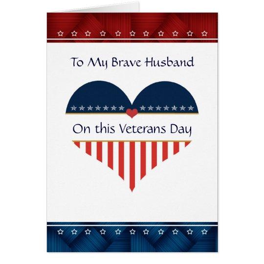 Tarjeta patriótica del día de veteranos del marido