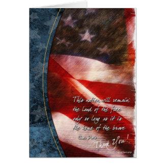 Tarjeta Patriótico gracias cardar con la bandera de los