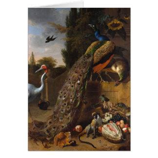 Tarjeta Pavos reales - d Hondecoeter de Melchior