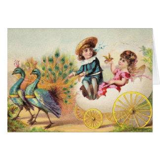 Tarjeta Pavos reales de Pascua del vintage