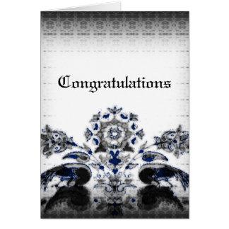 Tarjeta Pavos reales del vintage y boda azul floral del
