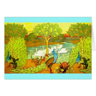 Tarjeta Pavos reales y cisnes de Nouveau del arte