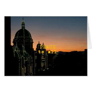 Tarjeta Paz a todos - mezquitas con las luces