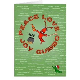 Tarjeta Paz, amor, alegría, navidad de Luisiana del GUMBO