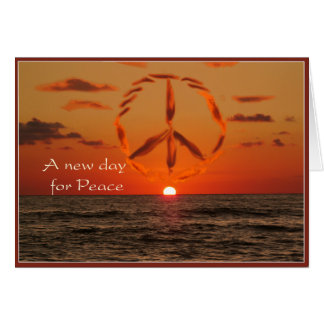 Tarjeta paz en la salida del sol
