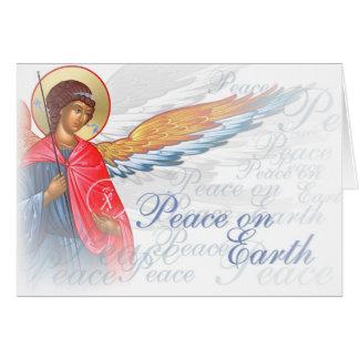 """Tarjeta """"Paz en la tierra"""" con escena del ángel y de la"""