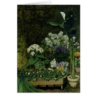 Tarjeta Pedro flores de Renoir un | en un invernadero