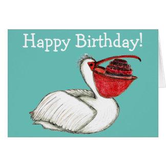 Tarjeta Pelícano con la torta de cumpleaños