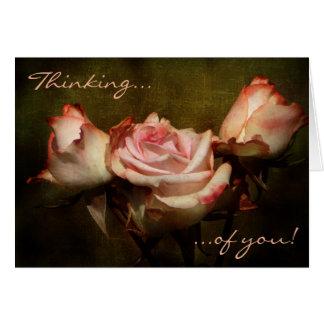 Tarjeta Pensamiento color de rosa polvoriento en usted