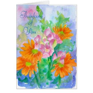 Tarjeta Pensamiento en usted flores de la acuarela de la