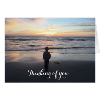 Tarjeta Pensamiento en usted puesta del sol de la playa