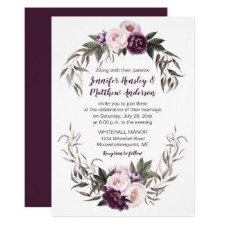 Tarjeta Peonies púrpuras de la acuarela del rosa del
