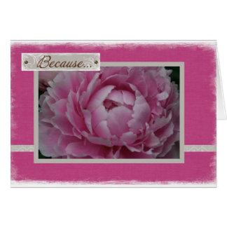 Tarjeta Peonies rosados en la floración - apenas porque