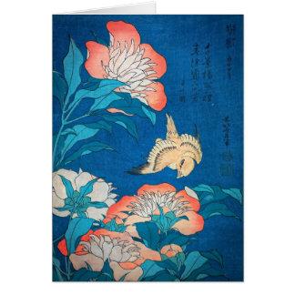 Tarjeta Peonies y arte japonés amarillo por Hokusai