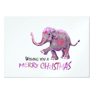Tarjeta Pequeña Navidad pintada del elefante del fondo