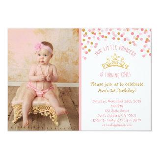 Tarjeta Pequeña princesa Birthday Invitation- Pink y oro