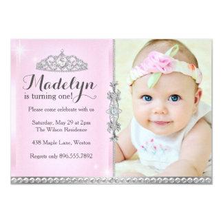 Tarjeta Pequeña princesa First Birthday Pink Invitation