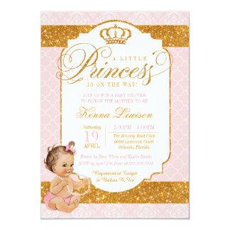 Tarjeta Pequeña princesa real Pink y fiesta de bienvenida
