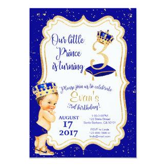 Tarjeta Pequeño 3ro cumpleaños de príncipe Birthday