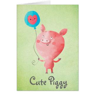 Tarjeta Pequeño cerdo lindo