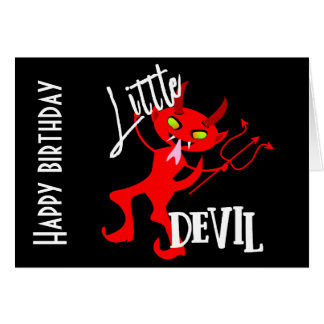 Tarjeta Pequeño gráfico divertido lindo del diablo rojo