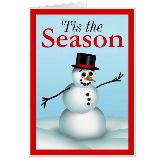Tarjeta Pequeño muñeco de nieve 'Tis de la diversión las
