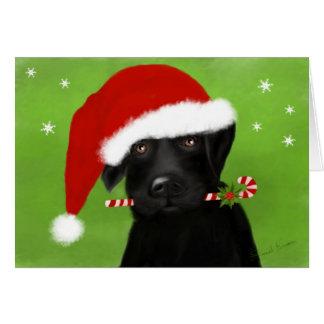 Tarjeta Pequeño navidad Labrador del ayudante de Santa