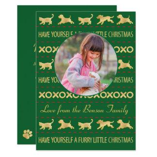 """Tarjeta """"pequeño navidad peludo """" de la foto del invitación 12,7 x 17,8 cm"""