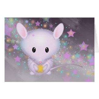 Tarjeta Pequeño ratón blanco en las estrellas