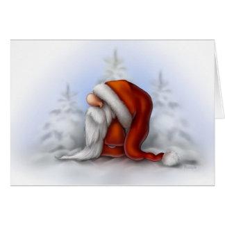Tarjeta Pequeño Santa en la nieve