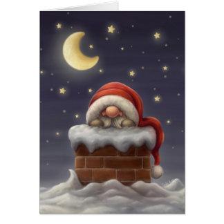 Tarjeta Pequeño Santa en una chimenea