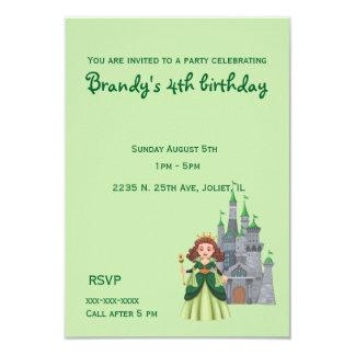 Tarjeta Pequeños princesa y castillo en cumpleaños verde