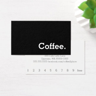 Tarjeta De Visita Tarjeta perforada oscura del café de la lealtad de