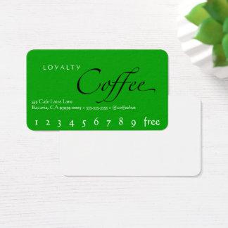 Tarjeta perforada verde del café de la lealtad del