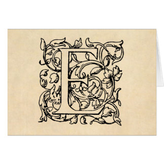 Tarjeta Pergamino del amarillo del monograma de la letra E