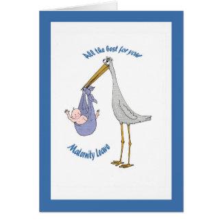 Tarjeta Permiso por maternidad, cigüeña y bebé