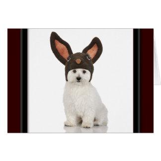 Tarjeta Perrito de Bichon Frise con el gorra del conejito