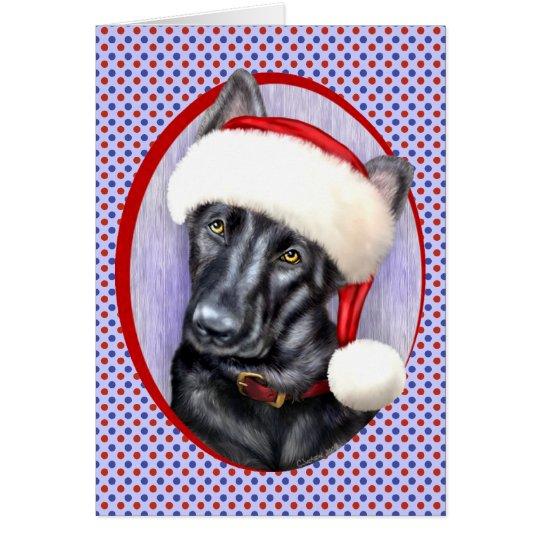 Tarjeta Perrito de Santa del navidad del negro del pastor