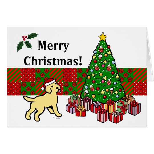 Tarjeta Perrito y árbol de navidad amarillos del