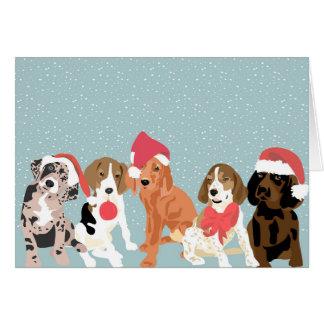 Tarjeta Perritos del Coonhound del día de fiesta (espacio