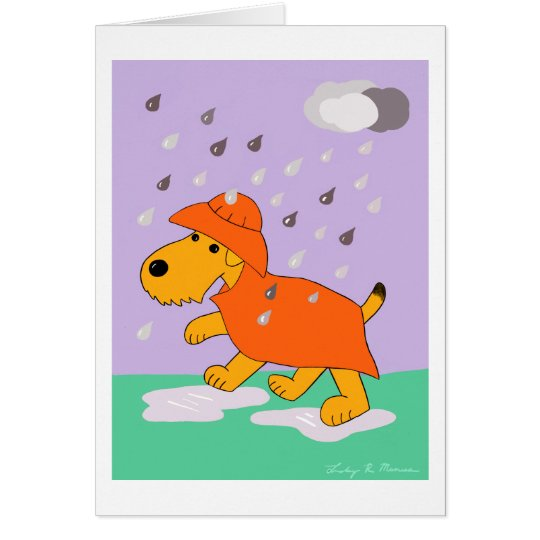 Tarjeta Perro de Airedale Terrier del dibujo animado en