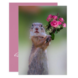 Tarjeta Perro de las praderas con la dama de honor rosada